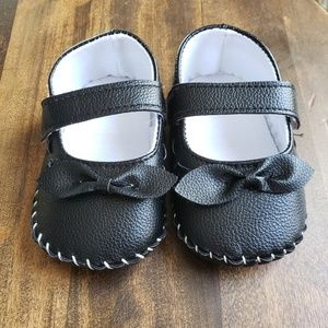 Shoes - Black Faux Leather Baby Flats